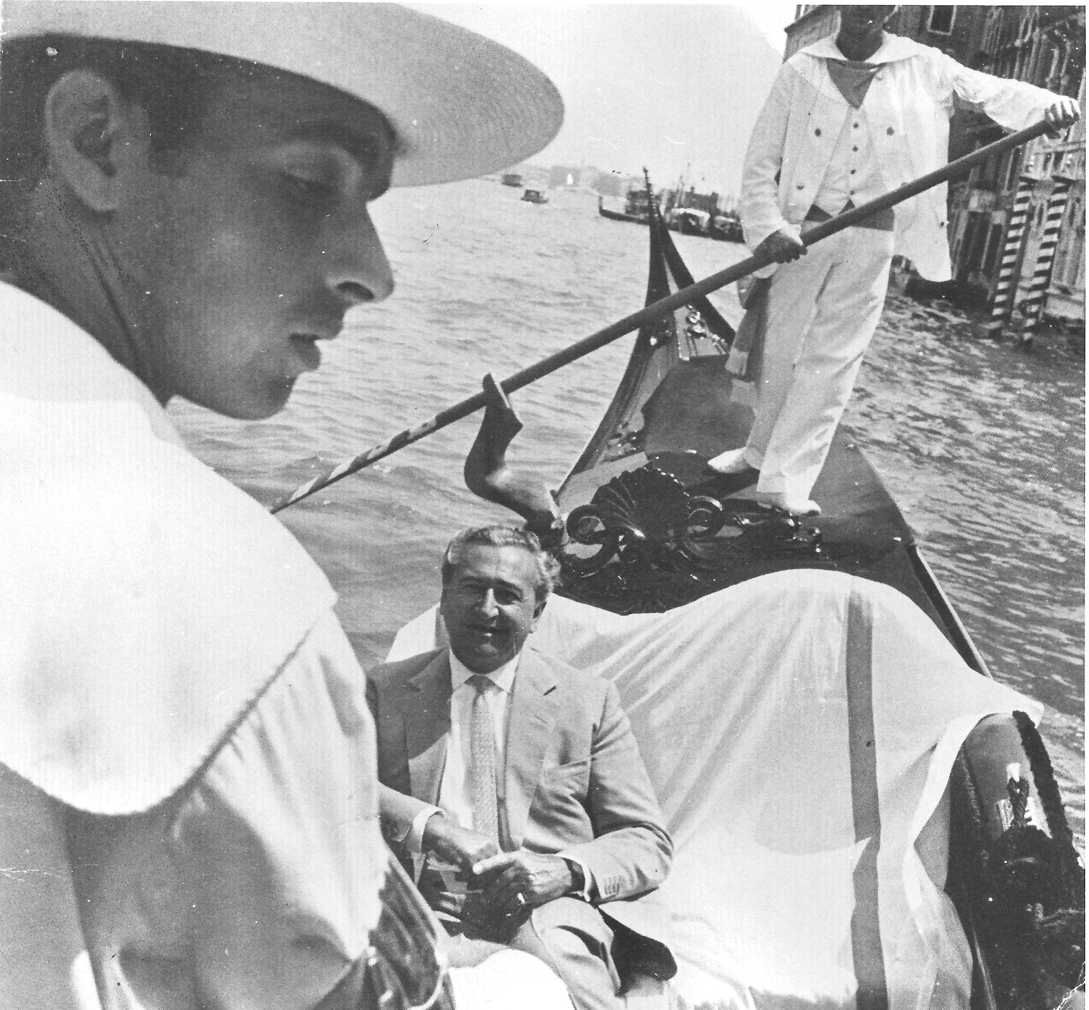 Arthur Jeffress in his gondola on the grand canal